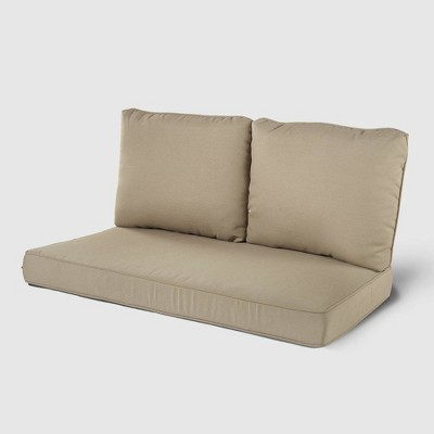 Rolston 3pc Outdoor Replacement Loveseat Sofa Cushion Set Tan - Haven Way