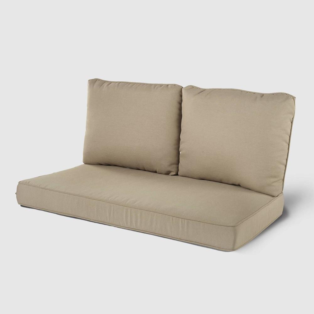 Rolston 3pc Outdoor Replacement Loveseat Sofa Cushion Set Tan Haven Way
