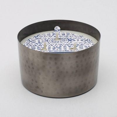 13oz Hammered Metal Jar 3-Wick Candle Elderflower Lemonade - Threshold™