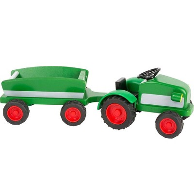 Small Foot Wooden Toys Woodfriends Tractor Trailer With Rubber Tires