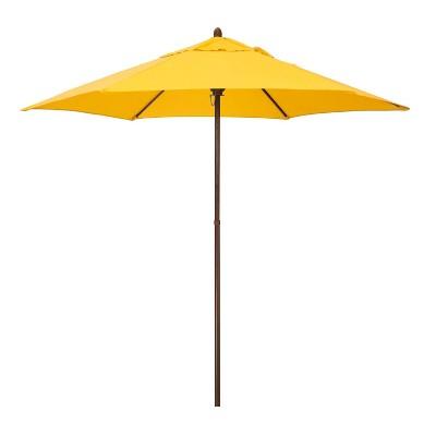 9' x 9' Round Wood Grain Steel Patio Umbrella - Astella