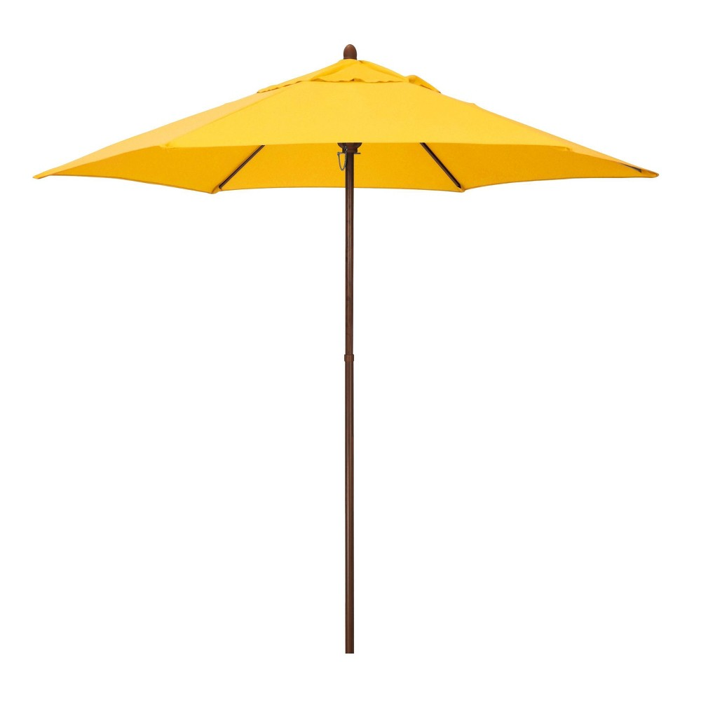 9 39 X 9 39 Round Wood Grain Steel Patio Umbrella Yellow Astella