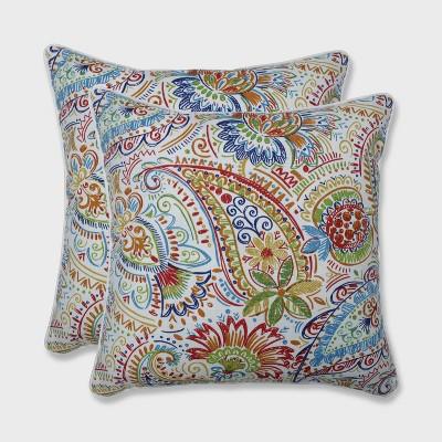 2pk 18.5  Gilford Outdoor Throw Pillow Festival Blue - Pillow Perfect