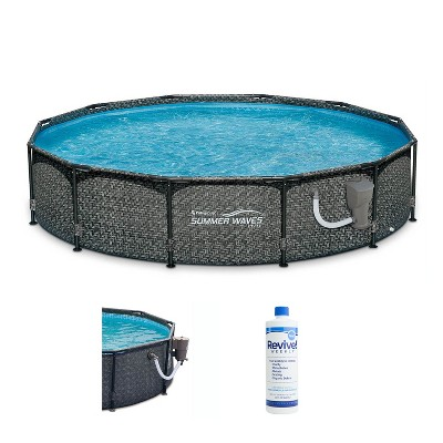 Summer Waves P20012331 12ft x 33in Round Frame Above Ground Swimming Pool Set with Skimmer Filter Pump, Cartridge & Treatment Cleaner, Gray Wicker