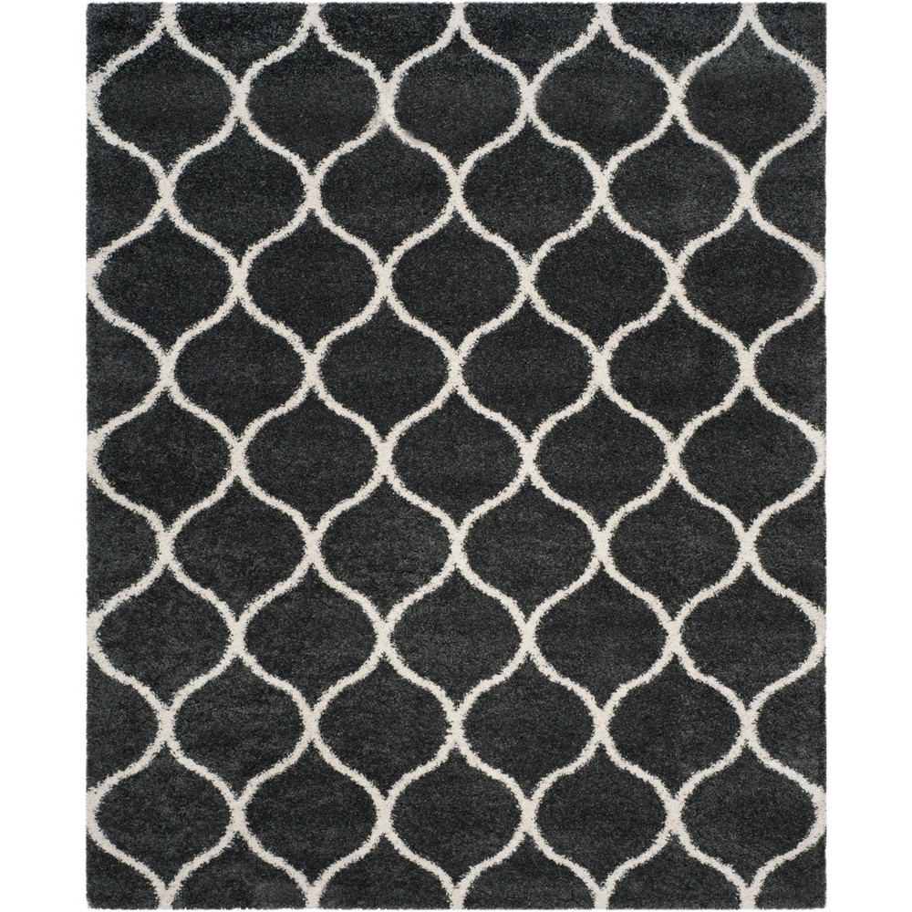 10'X14' Quatrefoil Design Loomed Area Rug Dark Gray/Ivory - Safavieh