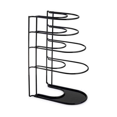Cuisinel C-201 Heavy Duty Steel Construction Extra Large 5 Pan and Pot Organizer 5 Tier Rack, 15 inch, Black