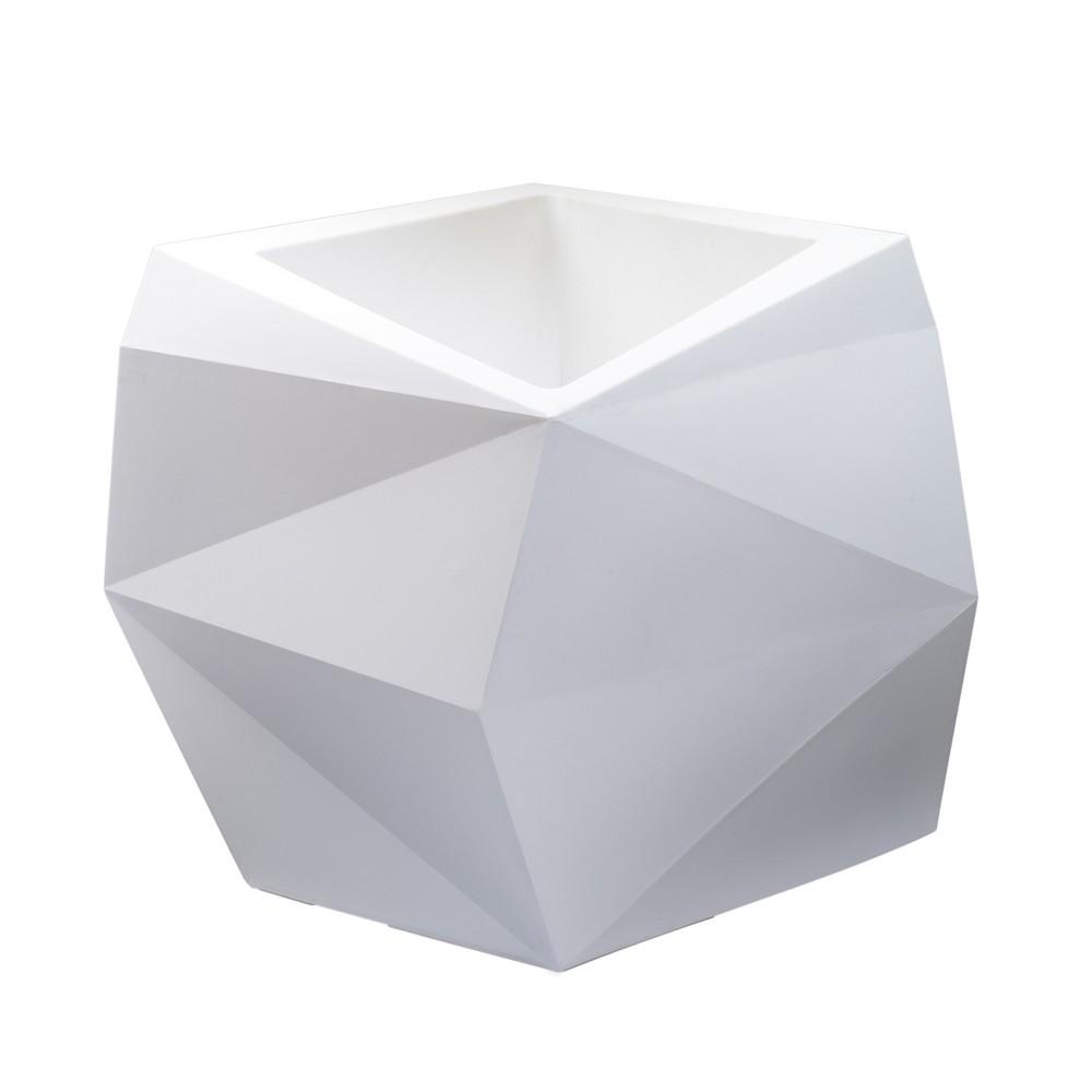 26'' Square Origami Tall Planter - White - Crescent Garden