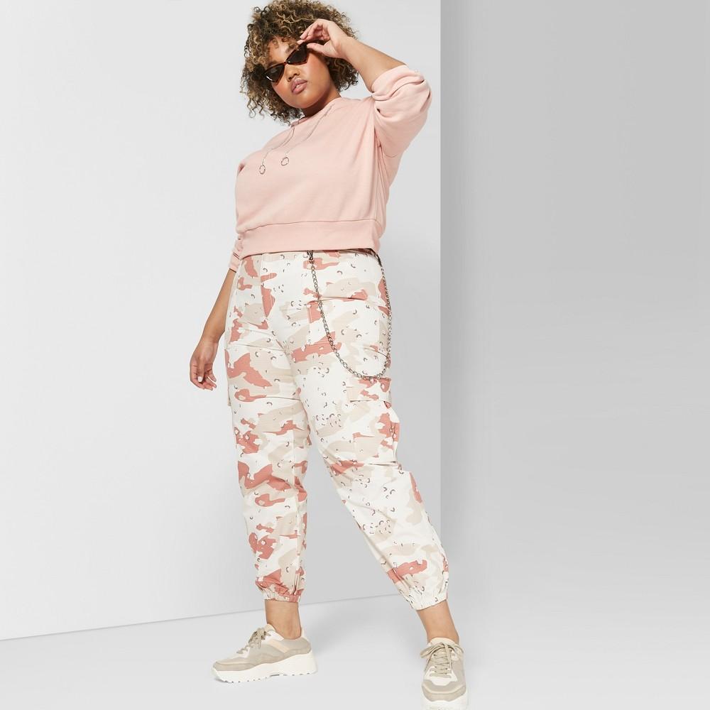 Women's Plus Size Camo Print Cargo High-Rise Desert Pants - Wild Fable White 26W