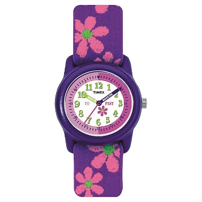 Kid's Timex Watch with Floral Strap - Purple/Pink T89022XY