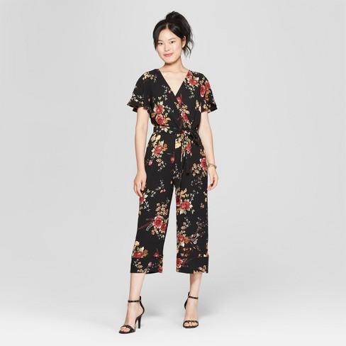 e814d5b37f6 Women s Floral Print Short Sleeve V-Neck Jumpsuit - Lily Star (Juniors )  Black Red Olive