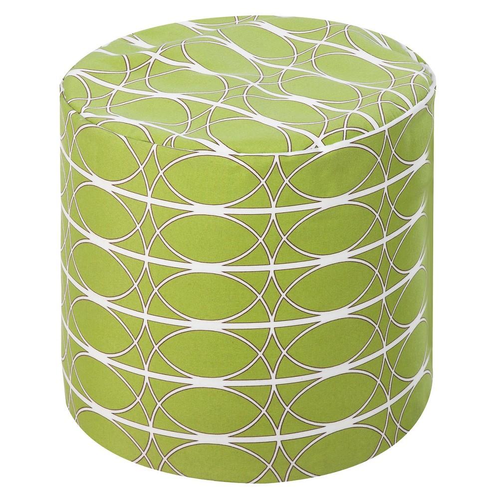 Lime (Green) Geometric Circles Cylinder Pouf 19x19