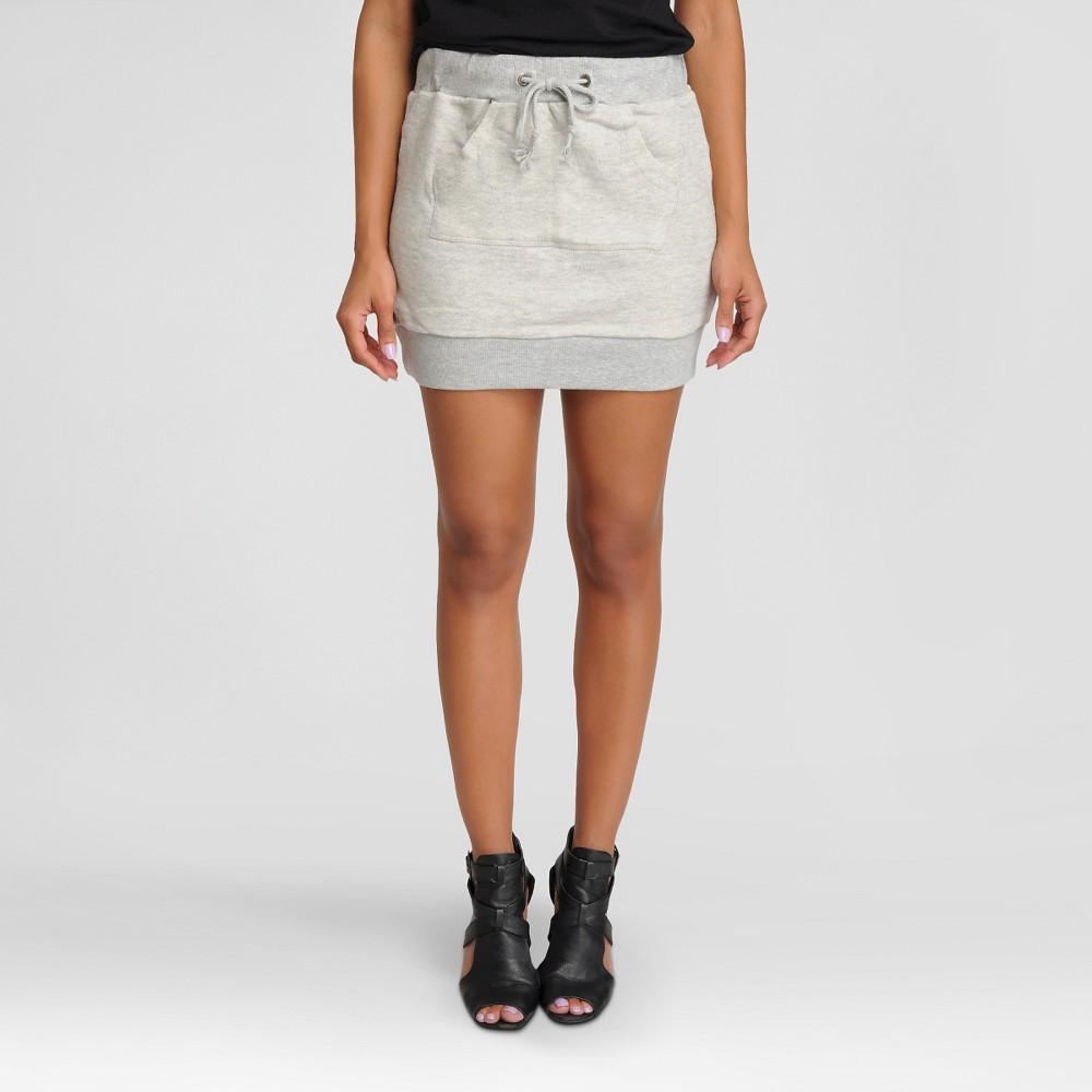 Women's French Terry Kangaroo Pocket Mini Skirt - Poetic Justice Heather Gray S
