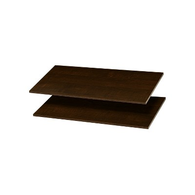 Easy Track RS1436-TON Wood 12 Inch Organizer Closet Shelves Compatible with Easy Track Closet Kits for Additional Storage, Truffle Brown (2 Pack)