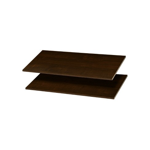 Easy Track RS1436-TON Wood 12 Inch Organizer Closet Shelves Compatible with Easy Track Closet Kits for Additional Storage, Truffle Brown (2 Pack) - image 1 of 1