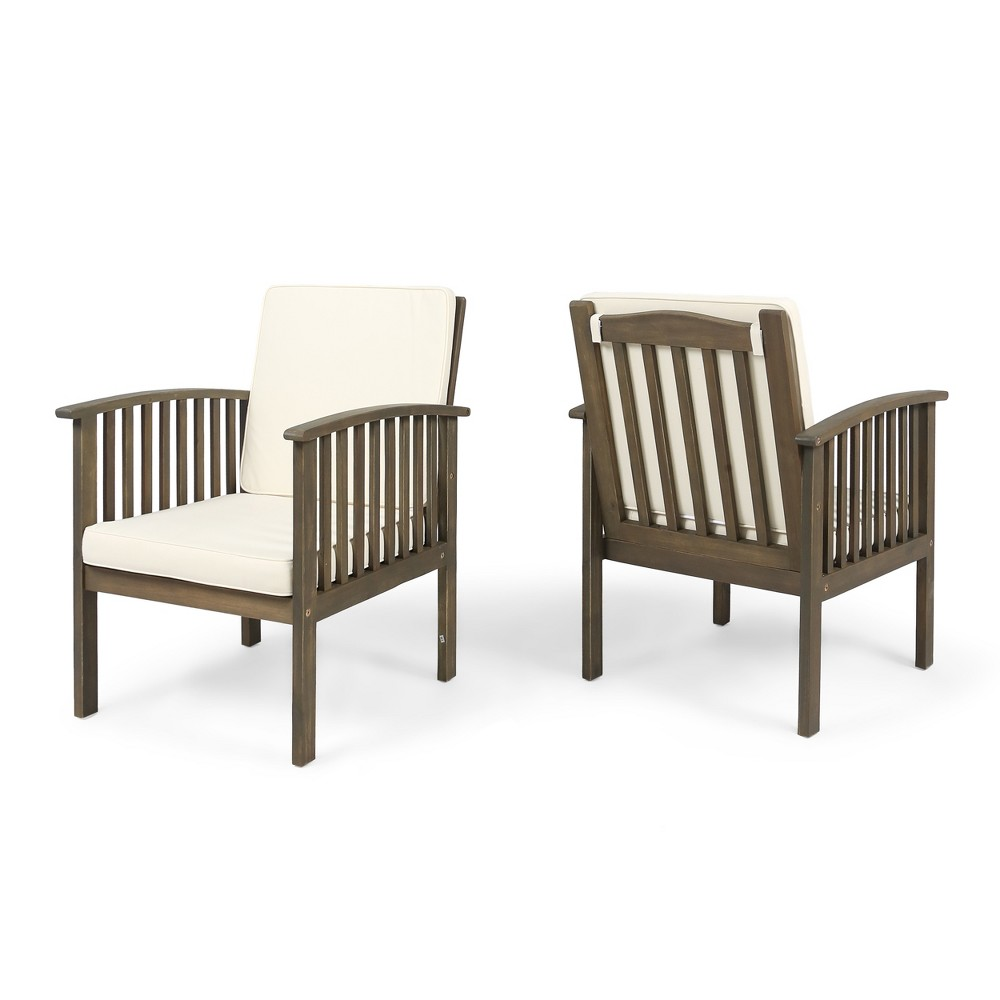 Casa 2pk Acacia Club Chairs - Gray/Cream (Gray/Ivory) - Christopher Knight Home