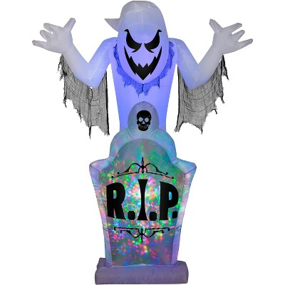 Gemmy Projection Airblown Kaleidoscope Ghost & Tombstone OPP (RGB), 7 ft Tall, white