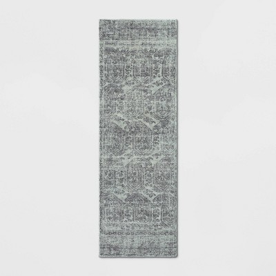 "2'4""X7' Runner Distressed Medallion Rug Silver - Threshold™"