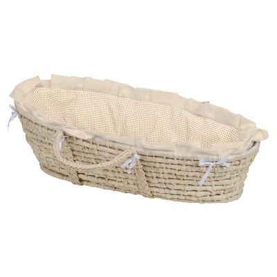 Badger Basket Natural Moses Basket Bedding - Beige Gingham