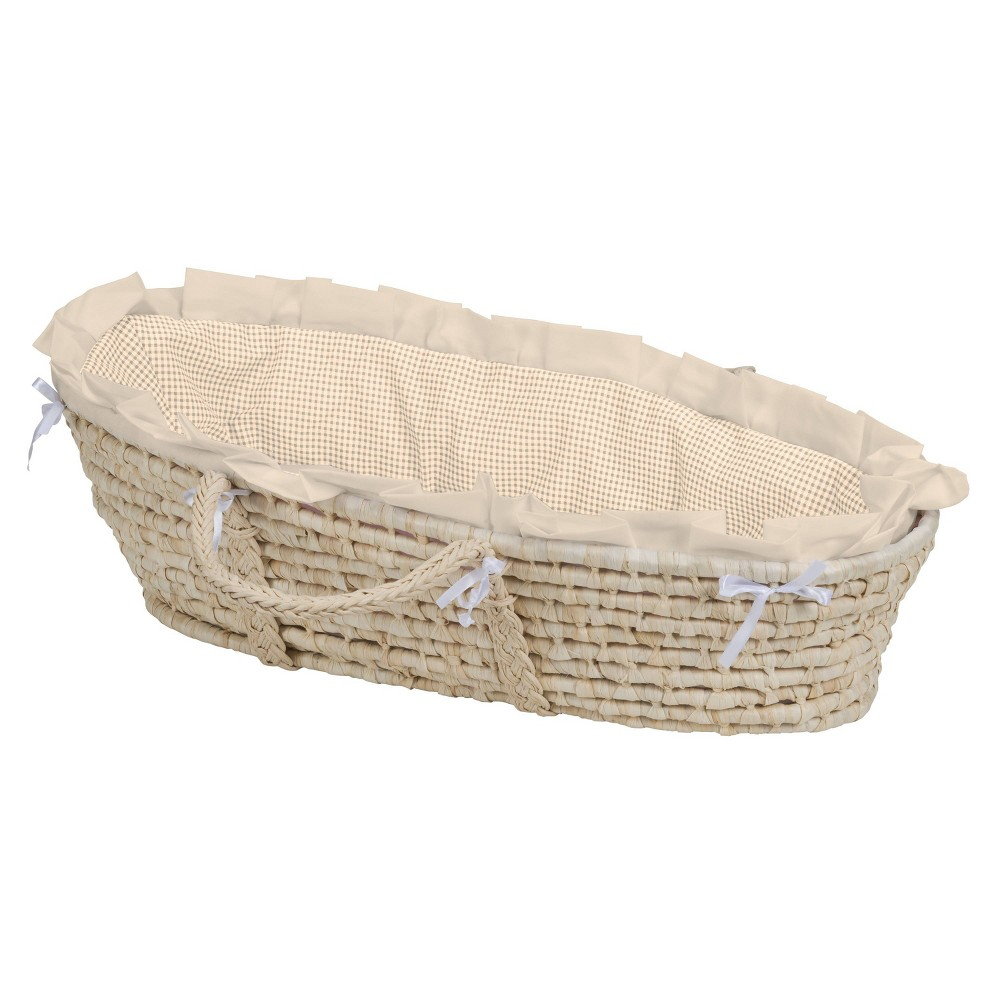 Image of Badger Basket Natural Moses Basket Bedding - Beige Gingham