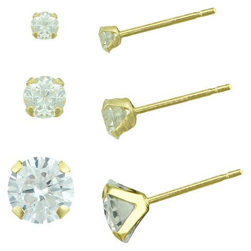 Women's Cubic Zirconia Stud Earring Set with Gold Filled Clutches in 10K Gold (2.5mm/3mm/4mm) - image 1 of 1