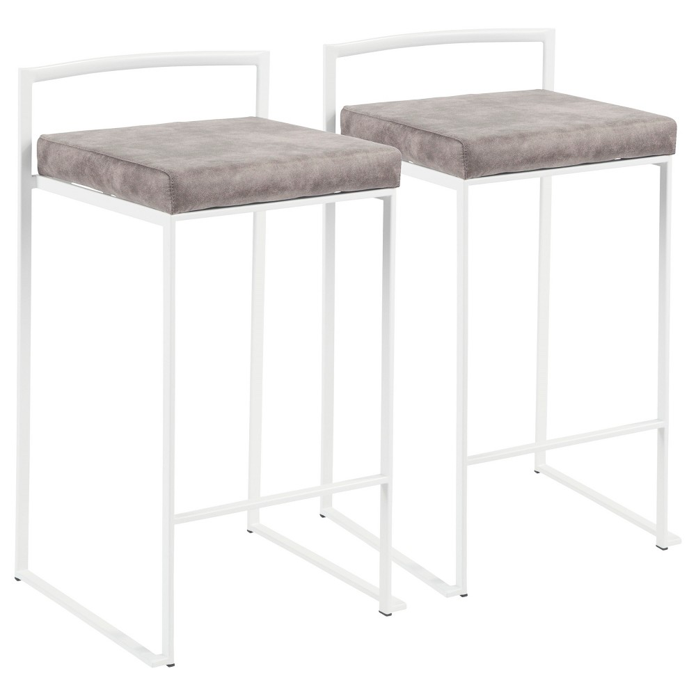 Fuji 26 In Contemporary Stackable Counter Stool White with Stone (Grey) Cowboy Fabric Cushion (Set of 2) - Lumisource