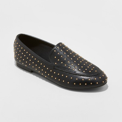 Women s Yari Faux Leather Studded Loafers - A New Day™ Black