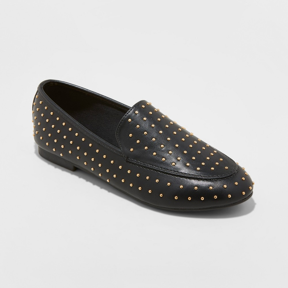 Women's Yari Faux Leather Studded Loafers - A New Day Black 7.5