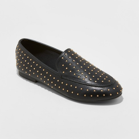 Women's Yari Faux Leather Studded Loafers - A New Day™ Black - image 1 of 8