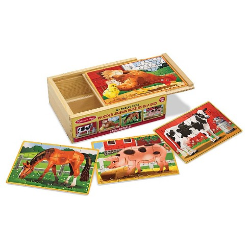 Melissa Doug Farm 4 In 1 Wooden Jigsaw Puzzles In A Storage Box 48pc Total