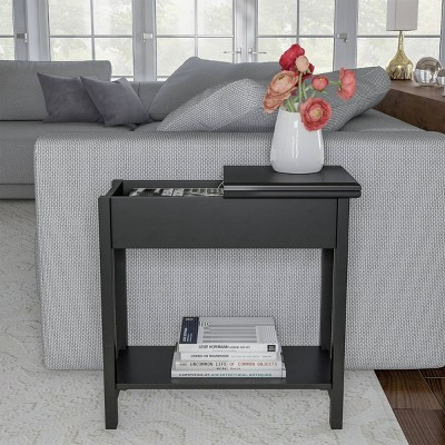 Flip Top End Table with Storage Compartment and Lower Shelf Matte Black - Yorkshire Home