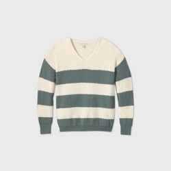 Women's Striped V-Neck Pullover Sweater - Knox Rose™