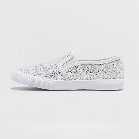 4780f349e133 Girls  Samora Slip On Glitter Sneakers - Cat   Jack™ Silver   Target