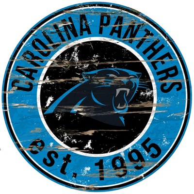 NFL Carolina Panthers Fan Creations Round Distressed Sign