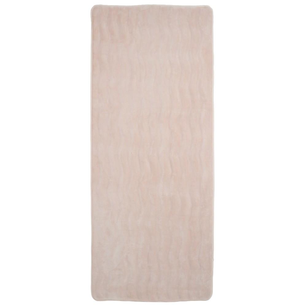 Wave Memory Foam Extra Long Bath Rug Mat Ivory - Yorkshire Home