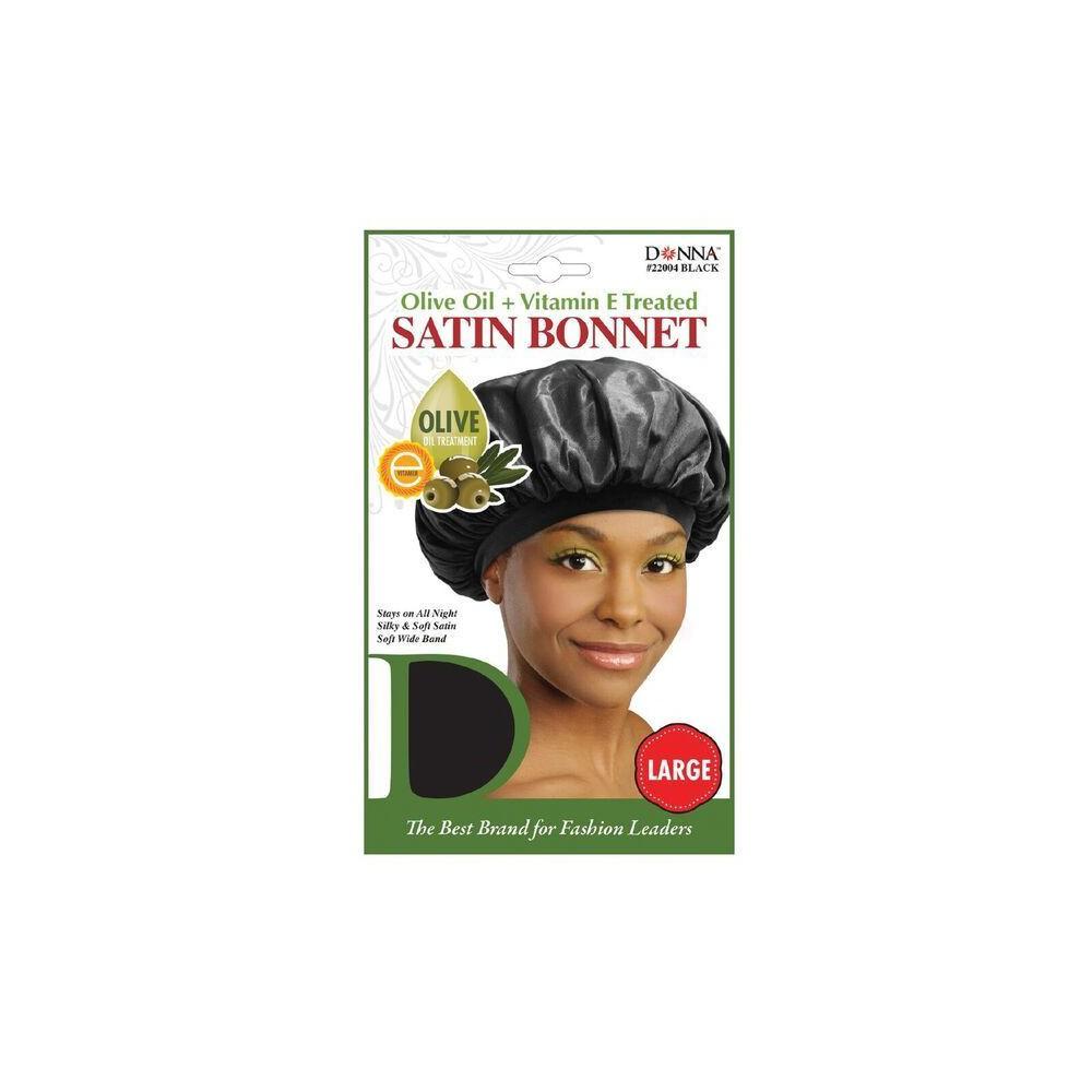 Donna Olive Oil & Vitamin E Treated Sleep Cap & Bonnet, Girl's, Black
