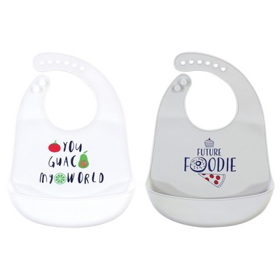 Hudson Baby Infant Silicone Bibs 2pk, You Guac My World, One Size