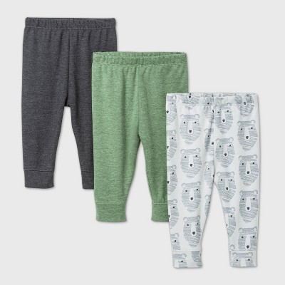 Baby Boys' 3pk Little Cub Pull-On Pants - Cloud Island™ Green/White/Gray 0-3M