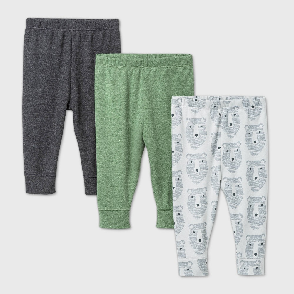 Compare Baby Boys' 3pk Little Cub Pull-On Pants - Cloud Island™ Green/White/Gray