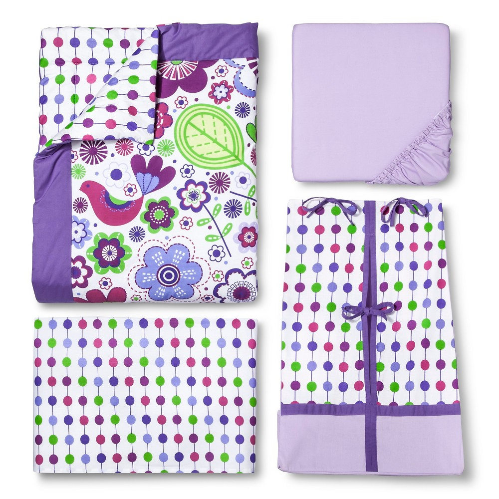 Image of Bacati Crib Bedding Set - 10pc - Purple Botanicals