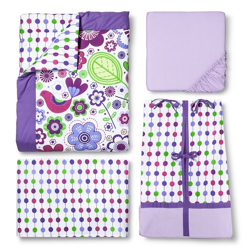 Bacati Crib Bedding Set 10pc Purple