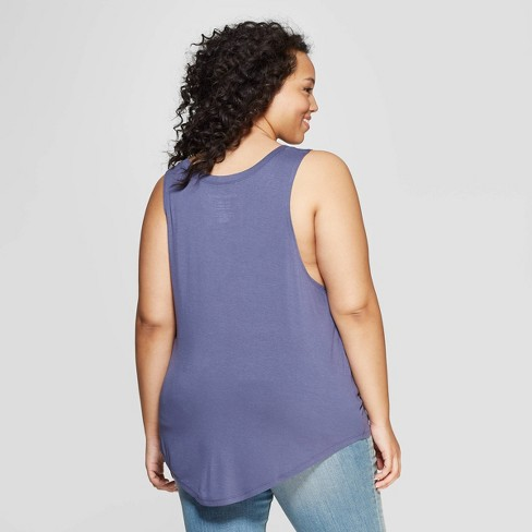 eac65c1cf33 Women s Plus Size Coffee Graphic Scoop Neck Tank Top - Grayson Threads ( Juniors ) - Blue   Target