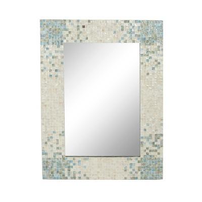 "48"" x 36"" Coastal Wood and Mussel Shell inlaid Wall Mirror - Olivia & May"