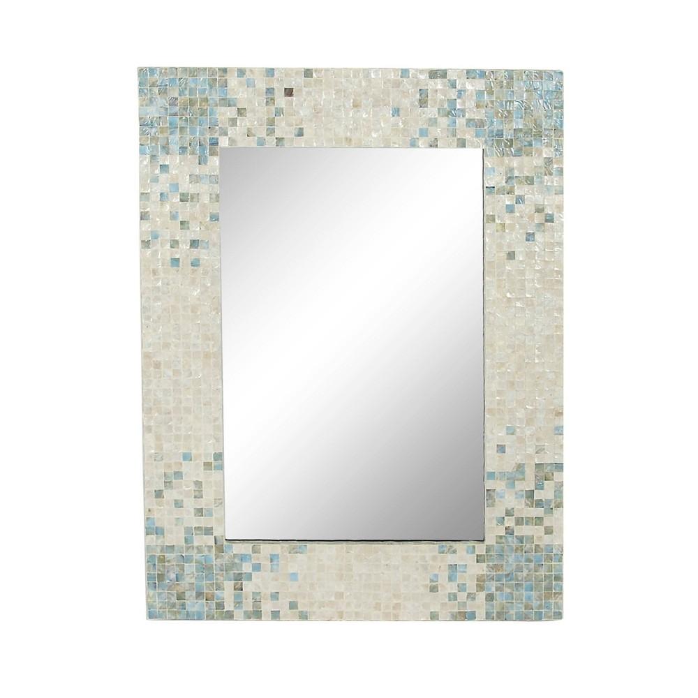 48 34 X 36 34 Coastal Wood And Mussel Shell Inlaid Wall Mirror Olivia 38 May