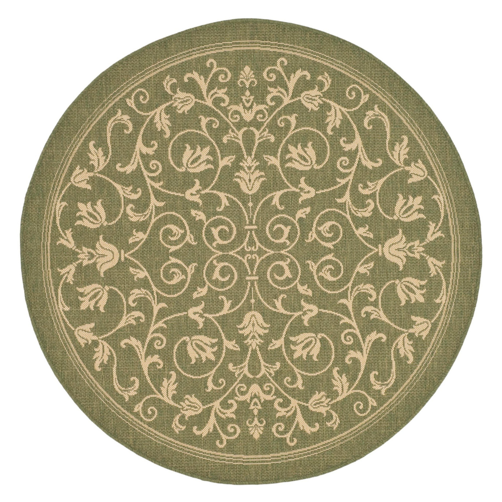 5'3 Round Vaucluse Outdoor Rug Olive/Natural (Green/Natural) - Safavieh