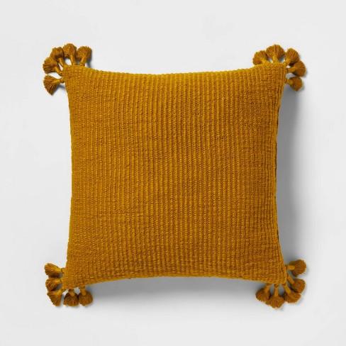Euro Chunky Woven Tassel Throw Pillow Saffron - Opalhouse™ - image 1 of 4