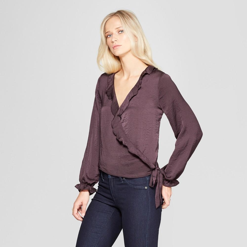 Women's Long Sleeve Satin Wrap Top - Xhilaration Purple M