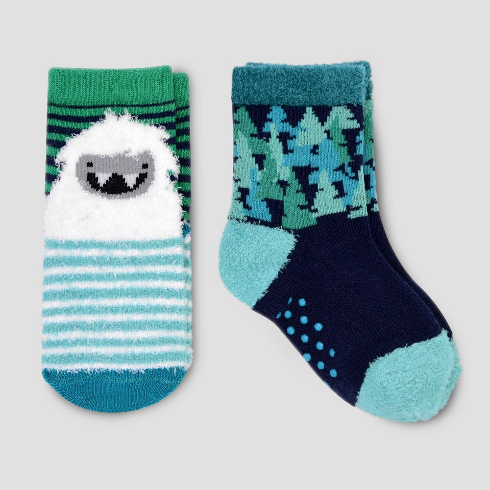 Baby Boys' 2pk Yeti Crew Socks - Cat & Jack Navy (Blue) 2-3T
