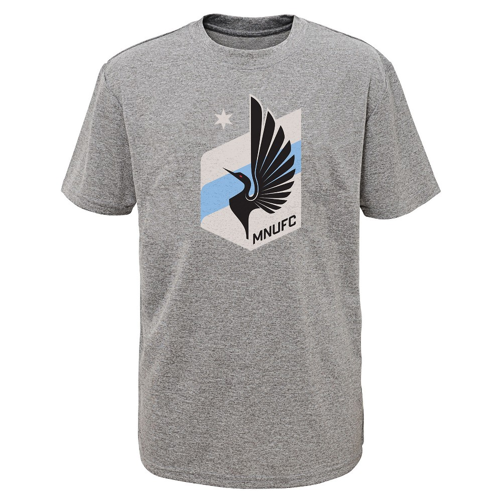 Boys' Short Sleeved Gray Poly Logo T-Shirt Minnesota United FC XS, Multicolored