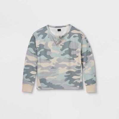 Girls' Notch Front Boxy Cropped Pullover Sweatshirt - art class™