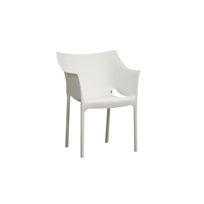 Set of 2 Molded Plastic Armchairss White - Baxton Studio